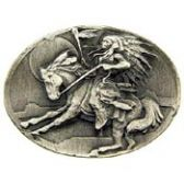 NATIVE INDIAN CHIEF ON A REARING HORSE LAPEL PIN
